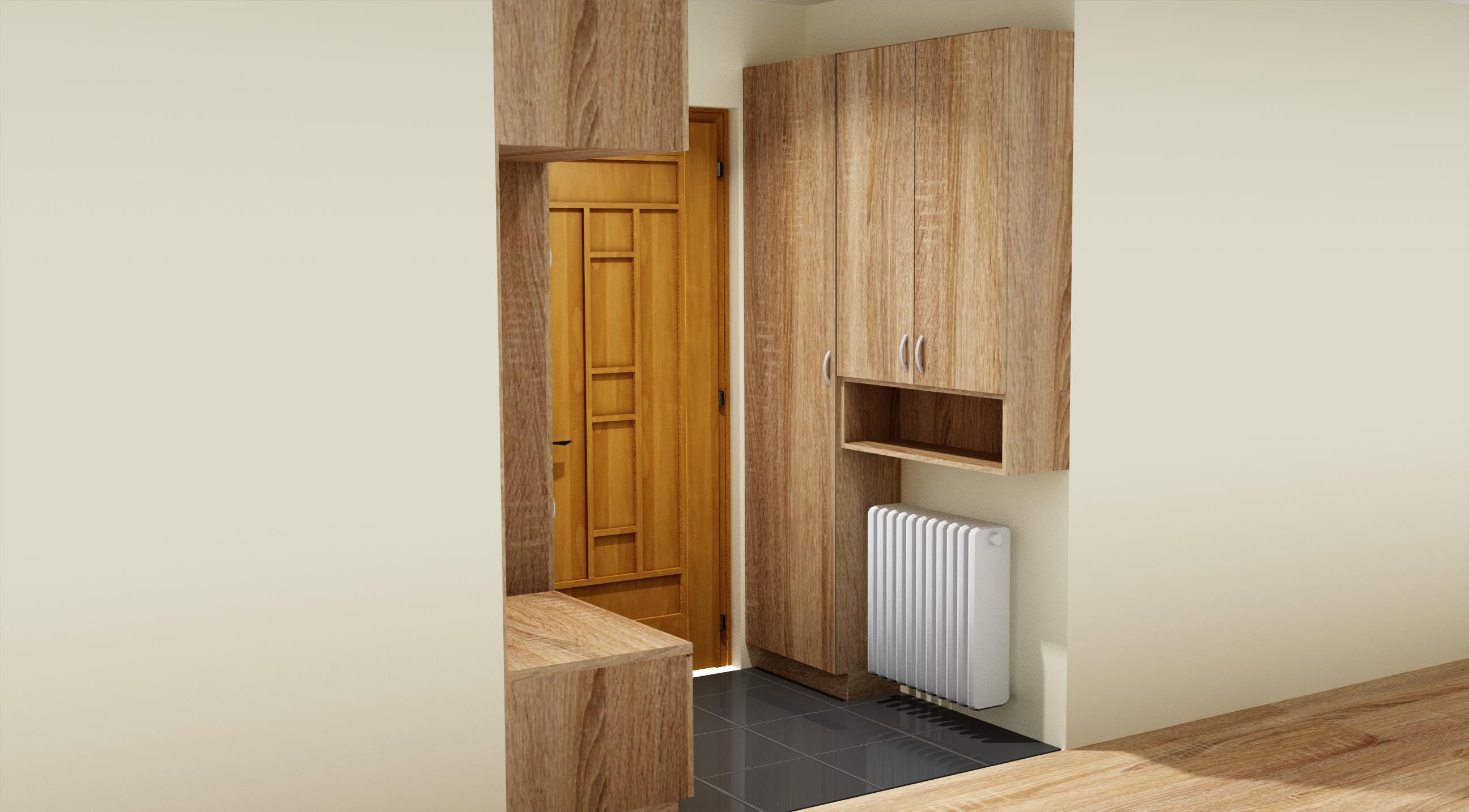 Előszoba Bútor Fa mintás ajtófrontokkal
